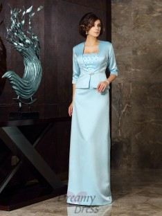 Sheath/Column Satin Floor-Length Strapless Mother of the Bride Dress