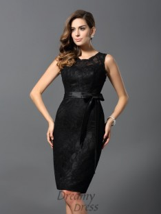 Sheath/Column Satin Lace Knee-Length Dress