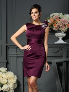 Sheath/Column Satin Scoop Knee-Length Dress