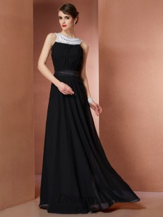 Sheath/Column Scoop Chiffon Floor-Length Dress