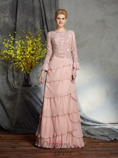 Sheath/Column Scoop Chiffon Long Mother of the Bride Dress