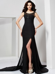 Sheath/Column Scoop Floor-Length Chiffon Dress