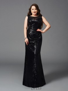 Sheath/Column Scoop Floor-Length Sequins Plus Size Dress