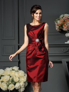 Sheath/Column Scoop Knee-Length Taffeta Mother of the Bride Dress