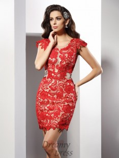 Sheath/Column Scoop Short/Mini Lace Elastic Woven Satin Dress
