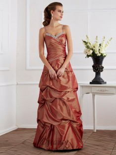 Sheath/Column Spaghetti Straps Taffeta Floor-Length Dress
