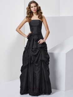 Sheath/Column Strapless Bowknot Taffeta Floor-Length Dress