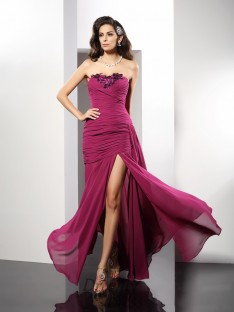 Sheath/Column Strapless Chiffon Long Dress