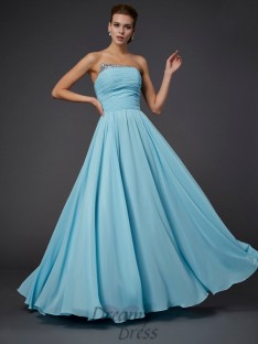 Sheath/Column Strapless Floor-Length Chiffon Dress