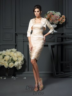 Sheath/Column Strapless Knee-Length Satin Mother of the Bride Dress