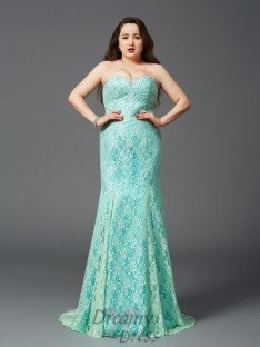 Sheath/Column Strapless Lace Court Train Satin Plus Size Dress