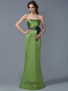 Sheath/Column Strapless Sash/Ribbon/Belt Satin Floor-Length Dress