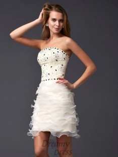 Sheath/Column Strapless Tulle Short/Mini Dress