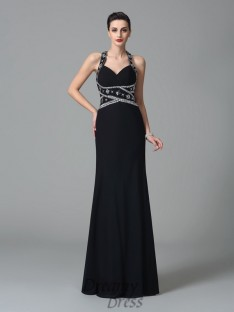 Sheath/Column Straps Chiffon Long Dress