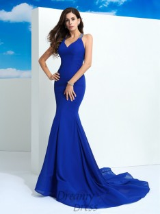 Sheath/Column Straps Court Train Chiffon Dress