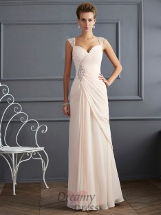Sheath/Column Straps Floor-Length Chiffon Dress