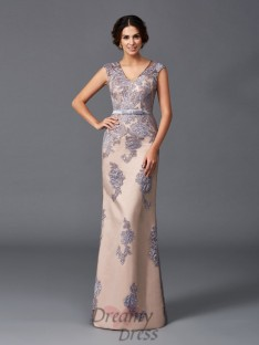 Sheath/Column Straps Floor-Length Satin Dress