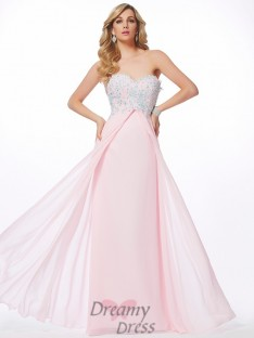 Sheath/Column Sweetheart Chiffon Floor-Length Dress With Beading