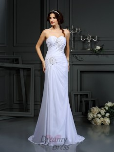 Sheath/Column Sweetheart Chiffon Sweep/Brush Train Wedding Dress