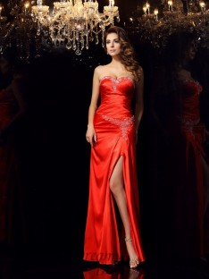 Sheath/Column Sweetheart Elastic Woven Satin Long Dress
