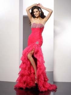 Sheath/Column Sweetheart Floor-Length Organza Dress