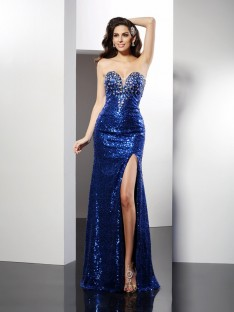Sheath/Column Sweetheart Floor-Length Sequins Dress