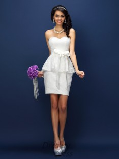 Sheath/Column Sweetheart Lace Short/Mini Satin Bridesmaid Dress