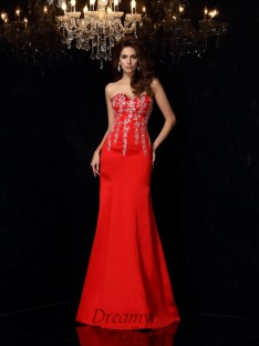 Sheath/Column Sweetheart Satin Floor-Length Dress
