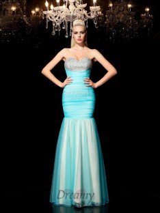Sheath/Column Sweetheart Sequin Net Long Dress