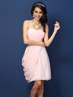 Sheath/Column Sweetheart Short/Mini Chiffon Bridesmaid Dress
