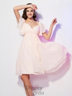 Sheath/Column Sweetheart Short Sleeves Chiffon Bridesmaid Dress