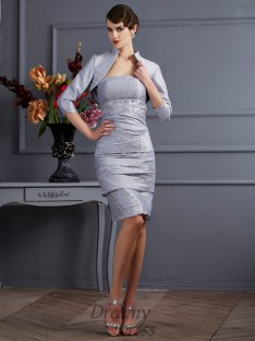 Sheath/Column Taffeta Strapless Knee-Length Dress