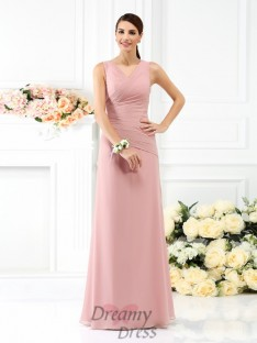 Sheath/Column V-neck Floor-Length Chiffon Bridesmaid Dress