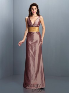 Sheath/Column V-neck Floor-Length Taffeta Dress