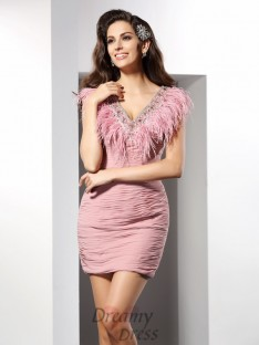 Sheath/Column V-neck Short/Mini Chiffon Dress