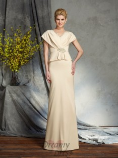 Sheath/Column V-neck Silk like Satin Long Mother of the Bride Dress