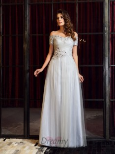 Short Sleeves Net Off-the-Shoulder Floor-Length Dress