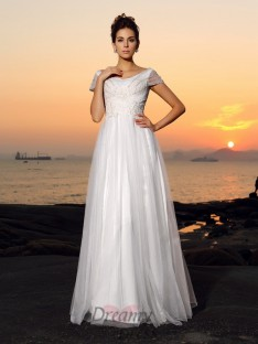 Short Sleeves Off-the-Shoulder Tulle Floor-Length Wedding Dress