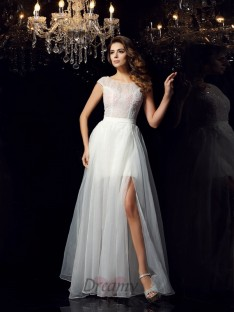 Short Sleeves Scoop Tulle Floor-Length Dress