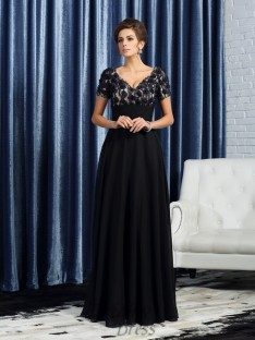 Short Sleeves V-neck Floor-Length Chiffon Mother of the Bride Dress