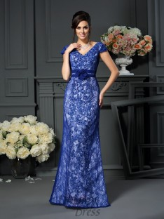 Short Sleeves V-neck Satin Floor-Length Dress