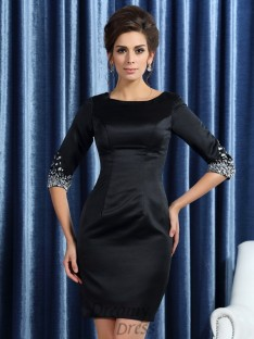 Square 1/2 Sleeves Satin Short/Mini Mother of the Bride Dress