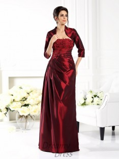 Strapless 1/2 Sleeves Floor-Length Taffeta Mother of the Bride Dress