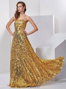 Strapless A-Line/Princess Floor-Length Satin Long Dress