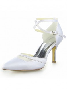 White Spool Heel Wedding Shoes SW0A31381I