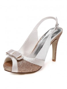 Women's Spool Heel Peep Toe With Buckle Wedding Shoes