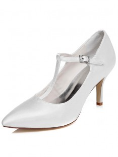 Women's Satin Spool Heel Closed Toe Buckle Wedding Shoes