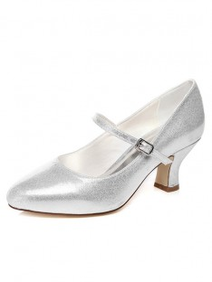 Women's Chunky Heel Closed Toe With Buckle Wedding Shoes