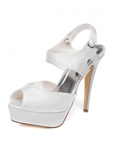 Women's Satin Stiletto Heel Peep Toe Wedding Shoes