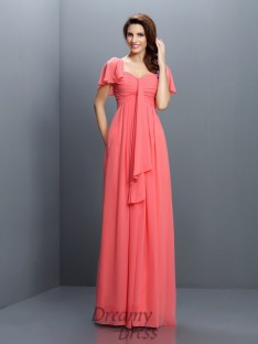 Sweetheart 1/2 Sleeves Floor-Length Chiffon Bridesmaid Dress